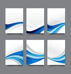 Abstract background collection of curve wave blue vector image vector image