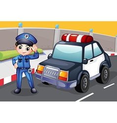 An officer and his patrol car vector image
