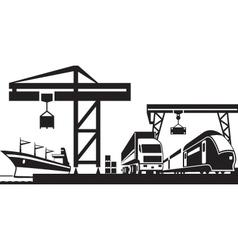 Cargo terminal scene vector image vector image