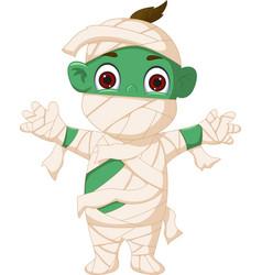 cartoon mummy standing vector image vector image