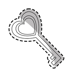 Key in heart shape vector