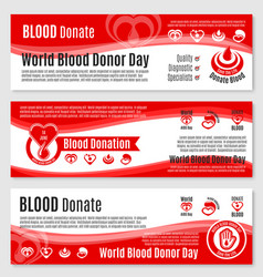 banners for blood donation donor day vector image vector image