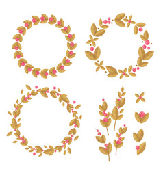 set of decorative wreaths of flowers and leaves vector image vector image