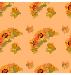 Sunflower garland and bow seamless pattern on vector image