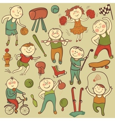 cartoon cute sport players vector image vector image