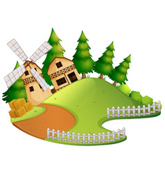 farm scene with barn and windmill vector image vector image
