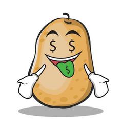 money mouth potato character cartoon style vector image vector image