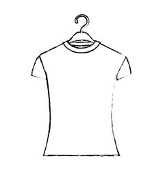 monochrome blurred silhouette of woman t-shirt in vector image