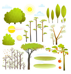 trees nature landscape objects clip art collection vector image