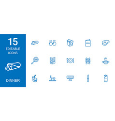 15 dinner icons vector image