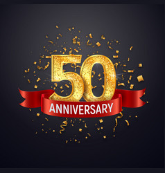 50 years anniversary logo template on dark vector image