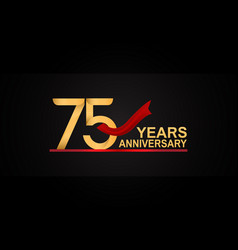 75 years anniversary design with red ribbon vector