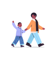 African american father walking with with son vector