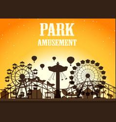 Amusement park silhoutte background vector