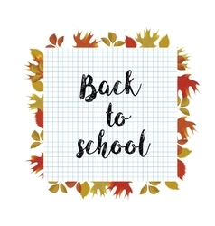 Back to school poster with autumn leaves vector