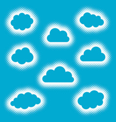 blue creative clouds icons set halftone style vector image