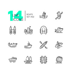 boats - modern thin line design icons set vector image