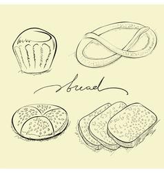 Bread cake and pretzel vector
