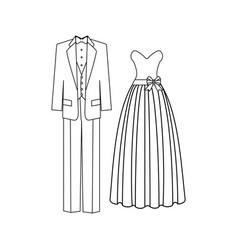 bride and broom wedding dress vector image