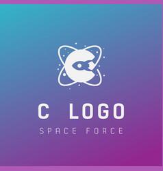 C initial space force logo design galaxy rocket vector