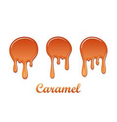 Caramel drop 3d set realistic caramel melted vector