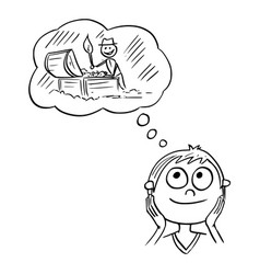 Cartoon boy dreaming about adventure and vector