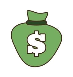 Cartoon green bag money dollar cash vector