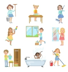 Children Helping With Spring Cleaning vector