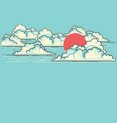 cloudy blue sky background with red sun nature vector image