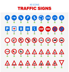 collection of 45 traffic sign icons vector image