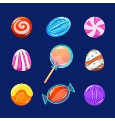 Colorful Glossy Candies with Sparkles vector image