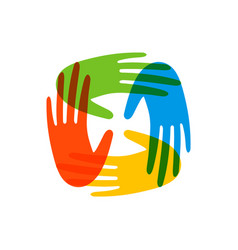 Colorful people hands concept for social help vector