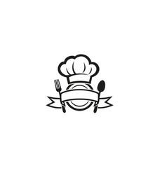 creative chef hat dish spoon fork logo design vector image