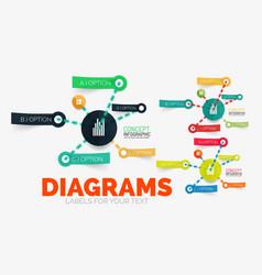 Diagram elements set with colour paper vector