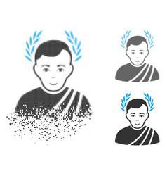 Dispersed pixel halftone caesar wreath icon with vector