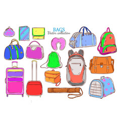 Doodle colored travel baggage collection vector