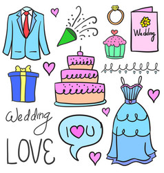 doodle of wedding party object vector image