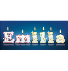 EMILIA written with burning candles vector