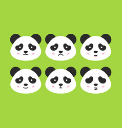 emotional panda faces vector image