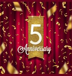 five years anniversary golden signboard vector image