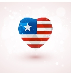 Flag of liberia in shape diamond glass heart vector