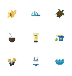 flat icons swimming sea tortoise and other vector image