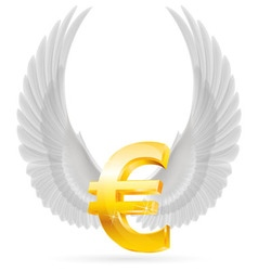Flying euro vector