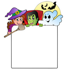 Frame with halloween characters 1 vector