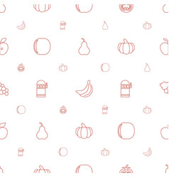 fruit icons pattern seamless white background vector image