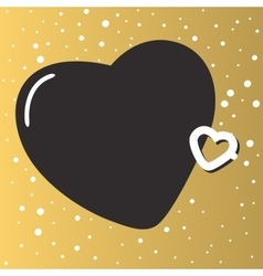 Gold background with beautiful hearts abstract vector