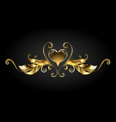 Gold frame scroll with heart vector
