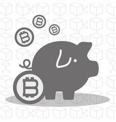 Gray pig icon circuit bitcoin money currency vector