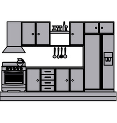 grayscale silhouette of kitchen cabinets with vector image
