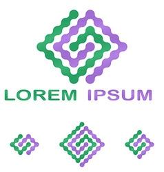 Green purple science company symbol set vector